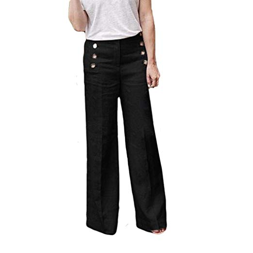 Women's Business Trousers iyyvv sexy women business casual pants loose elastic button trousers wide  leg pants EQTCKQD