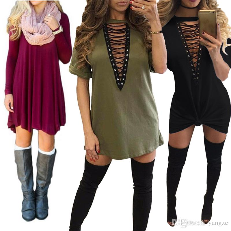 Women's Clothing hot selling dresses for women clothes fashion long sleeve autumn casual  loose v neck t-shirt ROSBJYF
