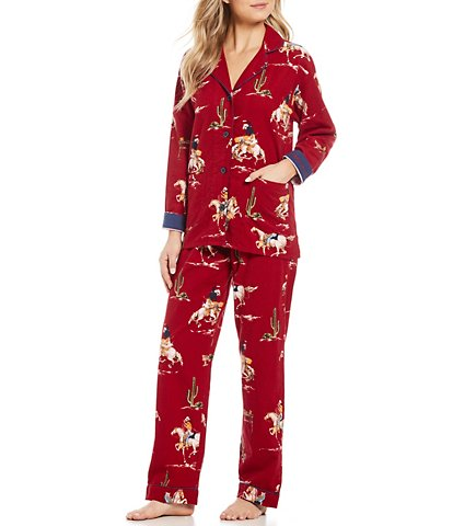 Women's Pajamas pj salvage cowgirl-printed flannel pajamas HXFKUDT