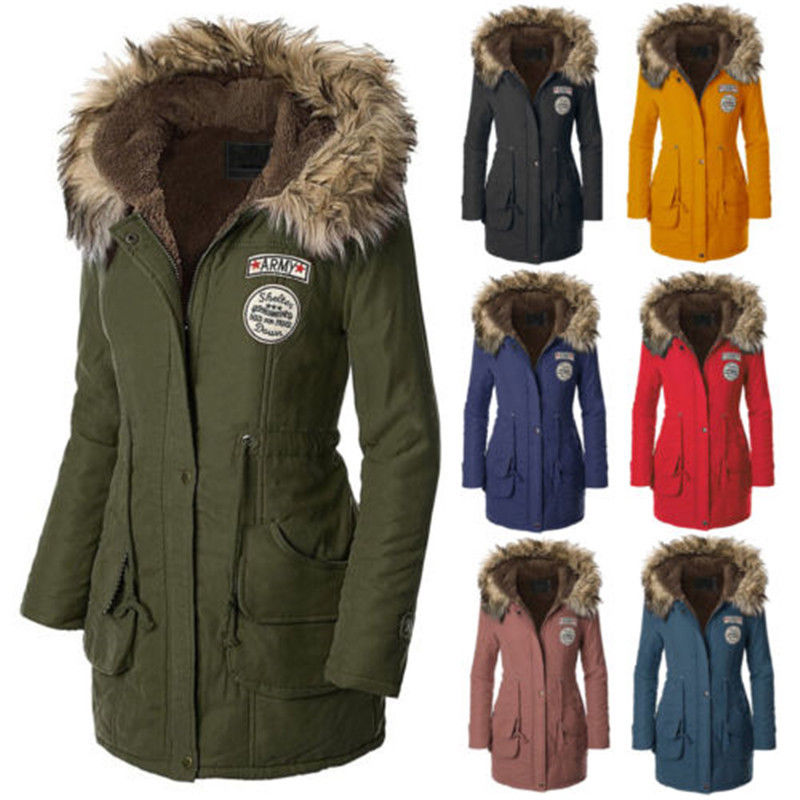 Women's Winter Jackets womens warm long coat fur collar hooded quilted jacket slim winter parka  outwear KSTVQJM