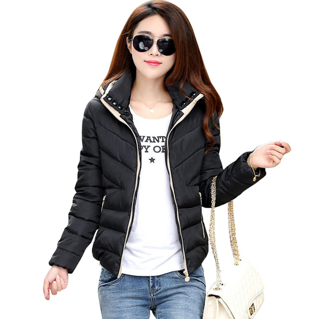 Women's Winter Short Coats 2018 new basic jacket women autumn winter short coats solid hooded down  cotton SHZIZNG
