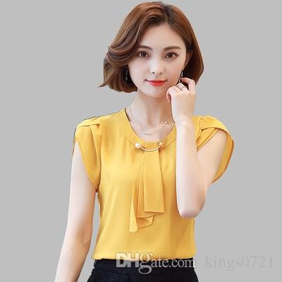 Women Tops 2018 2017 summer solid chiffon blouse women tops short sleeve shirt women  ladies office blouse DHFMRRT