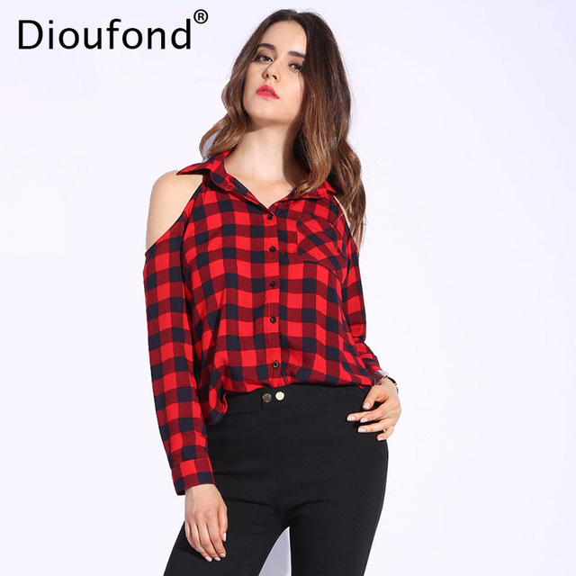 Women Tops dioufond spring red plaid off shoulder tops shirts for women long sleeve  blouse sexy blouses LKRMHHH