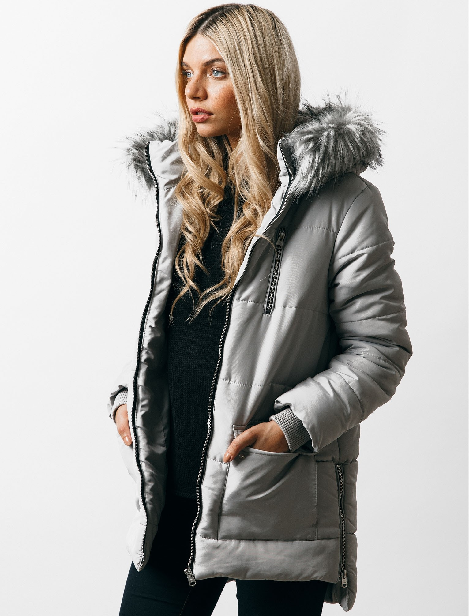 womens parka coats with fur hood oqena quilted parka coat with detachable fur trim hood in silver sconce - OEMUILJ