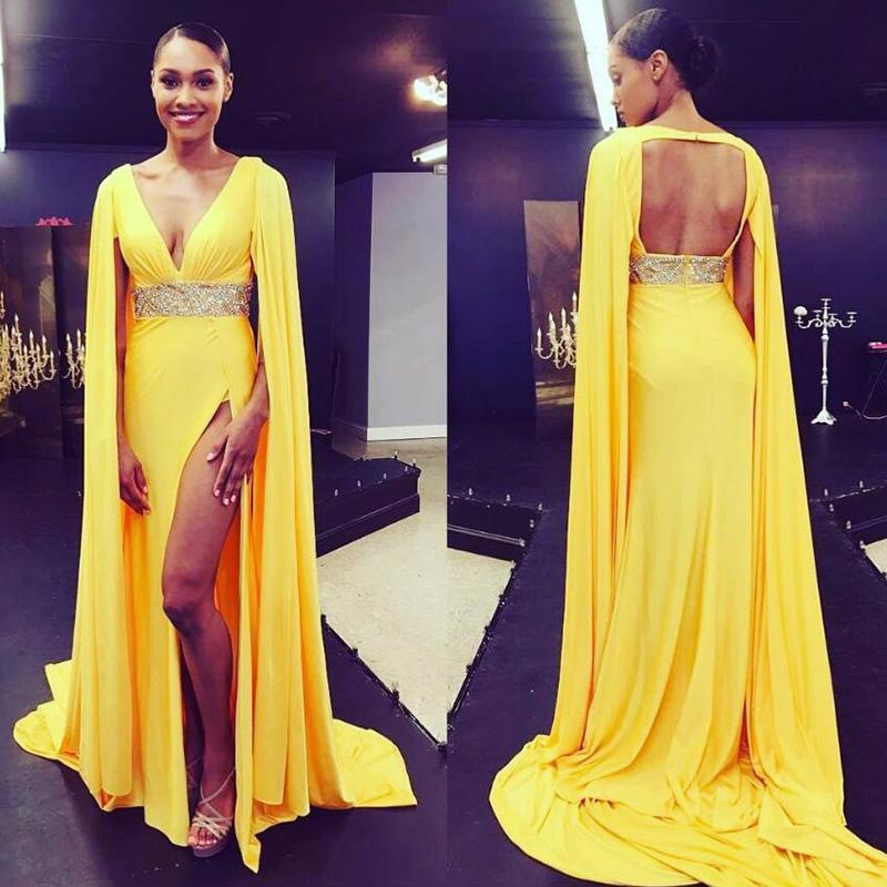 YELLOW EVENING DRESSES yellow formal prom dresses arabic long evening dress 2018 deep v neck high KZSEFNV