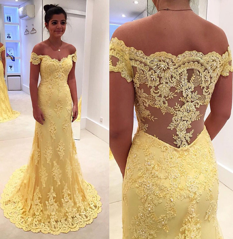 YELLOW EVENING DRESSES yellow lace long prom dress, lace evening dress, yellow formal dress HDRWJEO