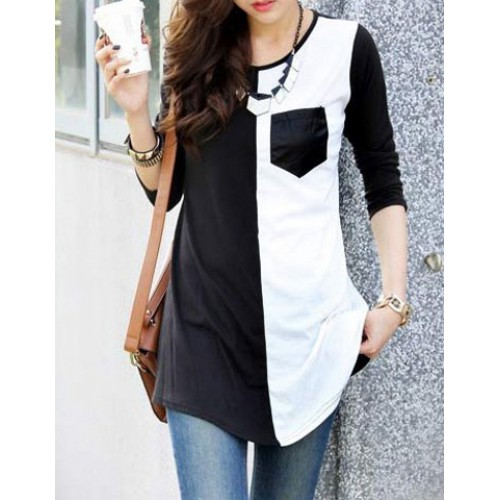 Casual Womenu0027s Scoop Neck Color Block 3/4 Sleeve T-Shirt black white