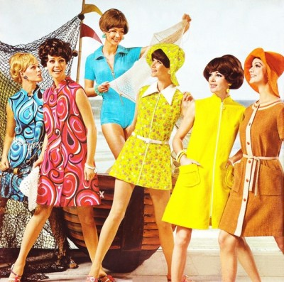 1960s fashion dresses in bold pop art colors