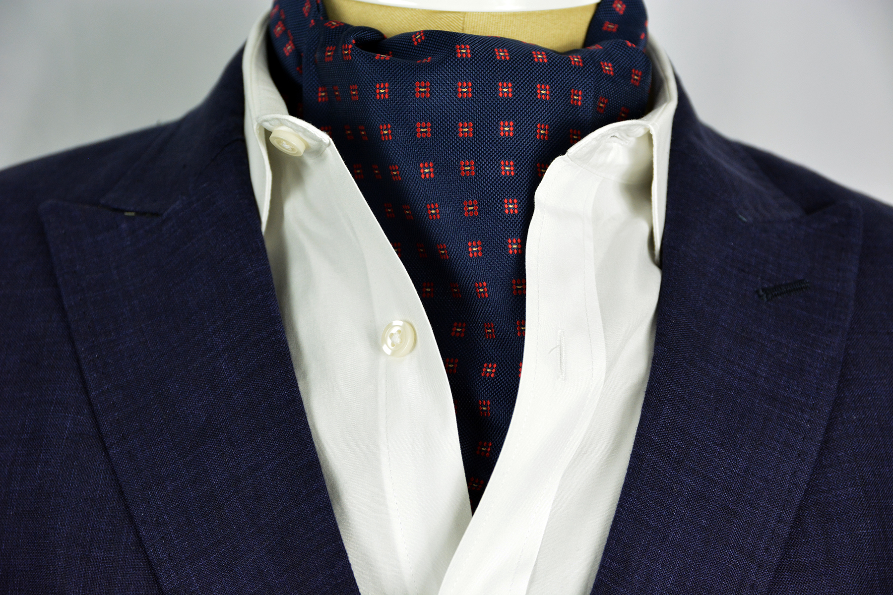 Checker Red Sterling Ascot Tie