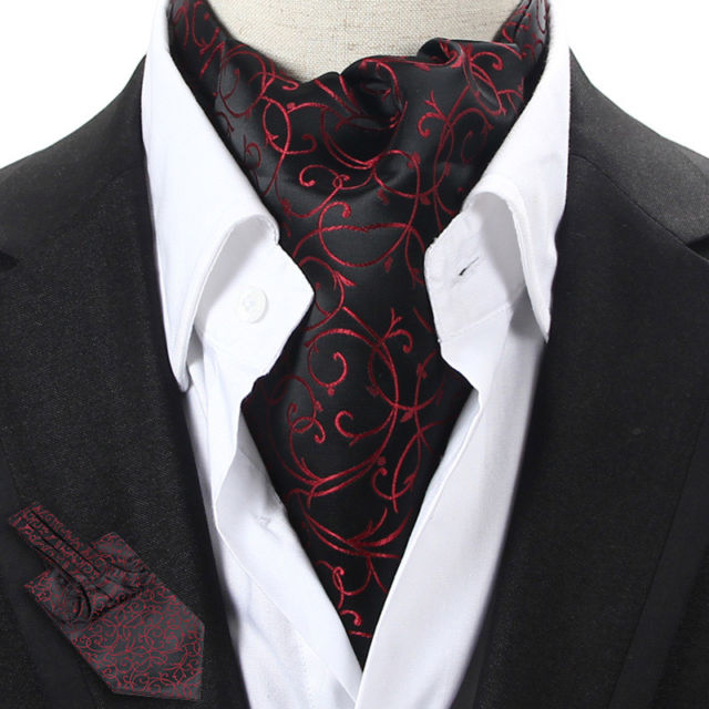 LJ09-01 Black / Red Floral Men 100% Silk Ascot Tie Cravat Scarf Accessory