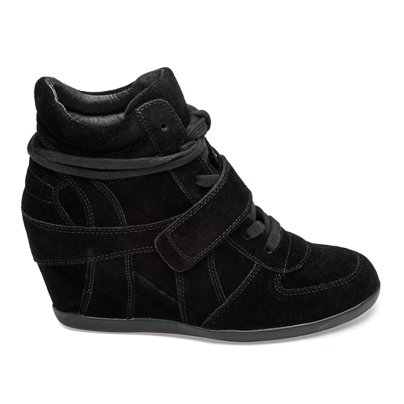 ASH Bowie Womens Wedge Sneaker Black Suede 360287 (964)