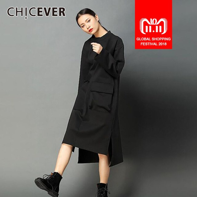 CHICEVER Asymmetrical Hit Colors Women Dress Tunic Loose Big Size Pullovers Winter  Dresses Female Clothes Fashion