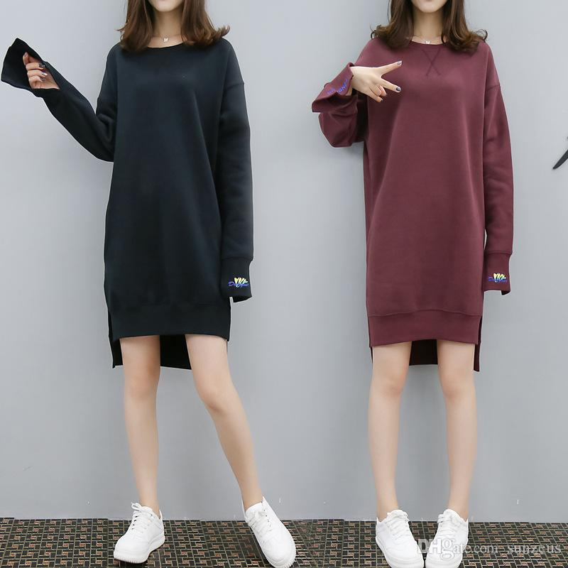2019 Asymmetrical Long Sweatshirts For Girls Casual Winter Skirt Dresses O  Neck Long Sleeve Women'S Hoodies Dresses Fashion Loose Warm Dress From  Sunzeus, ...