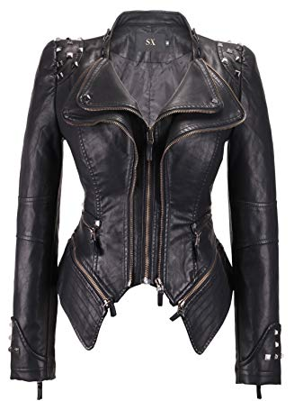 chouyatou Women's Fashion Studded Perfectly Shaping Faux Leather Biker  Jacket (XX-Small, Black