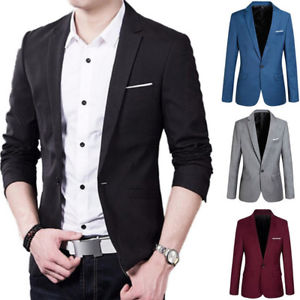 Image is loading US-Formal-Mens-Slim-Fit-One-Button-Suit-