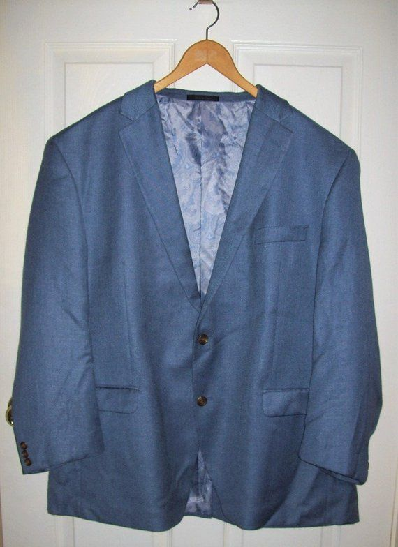 Vintage Men's Blue Gray Sport Coat Blazer by Chaps Size 50 R Only 10