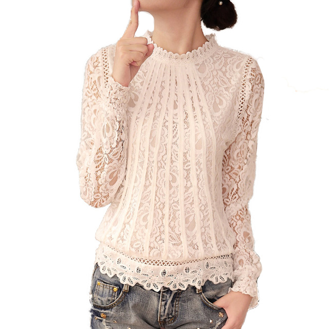 Fashion Newest Design Lace Floral Women Blouse for Party Wedding Full  Sleeve Graceful Female Ladies Tops