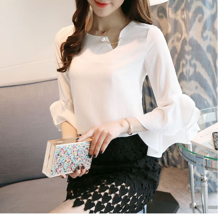Fashion Summer Women's Pearl Chiffon Blouses for Party Wedding Solid Color  Ladies Elegant Flare Sleeve Top Pink White XS S M C1H-in Blouses u0026 Shirts  from ...