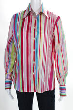 Etro Womens Striped Button Front Blouse Mutli Color Cotton European Size 48