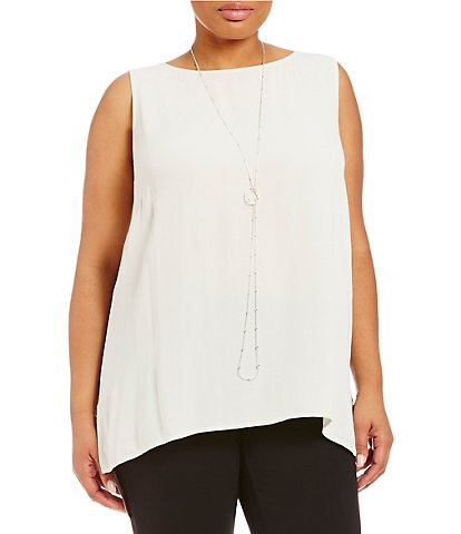 Eileen Fisher Plus Bateau Neck Long Shell