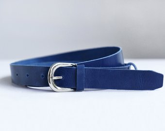 Leather belt, Blue leather belt, Womens leather belt, Belt, Blue belt,  Leather belt women