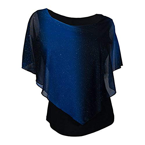 eVogues Plus Size Layered Poncho Top with Glitter Detail Royal Blue - 3X