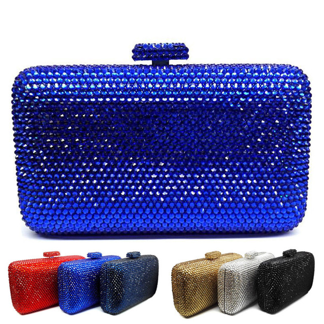 LaiSC wholesale Luxury navy blue evening handbag Red crystal Clutch bag  women evening bag Wedding purse