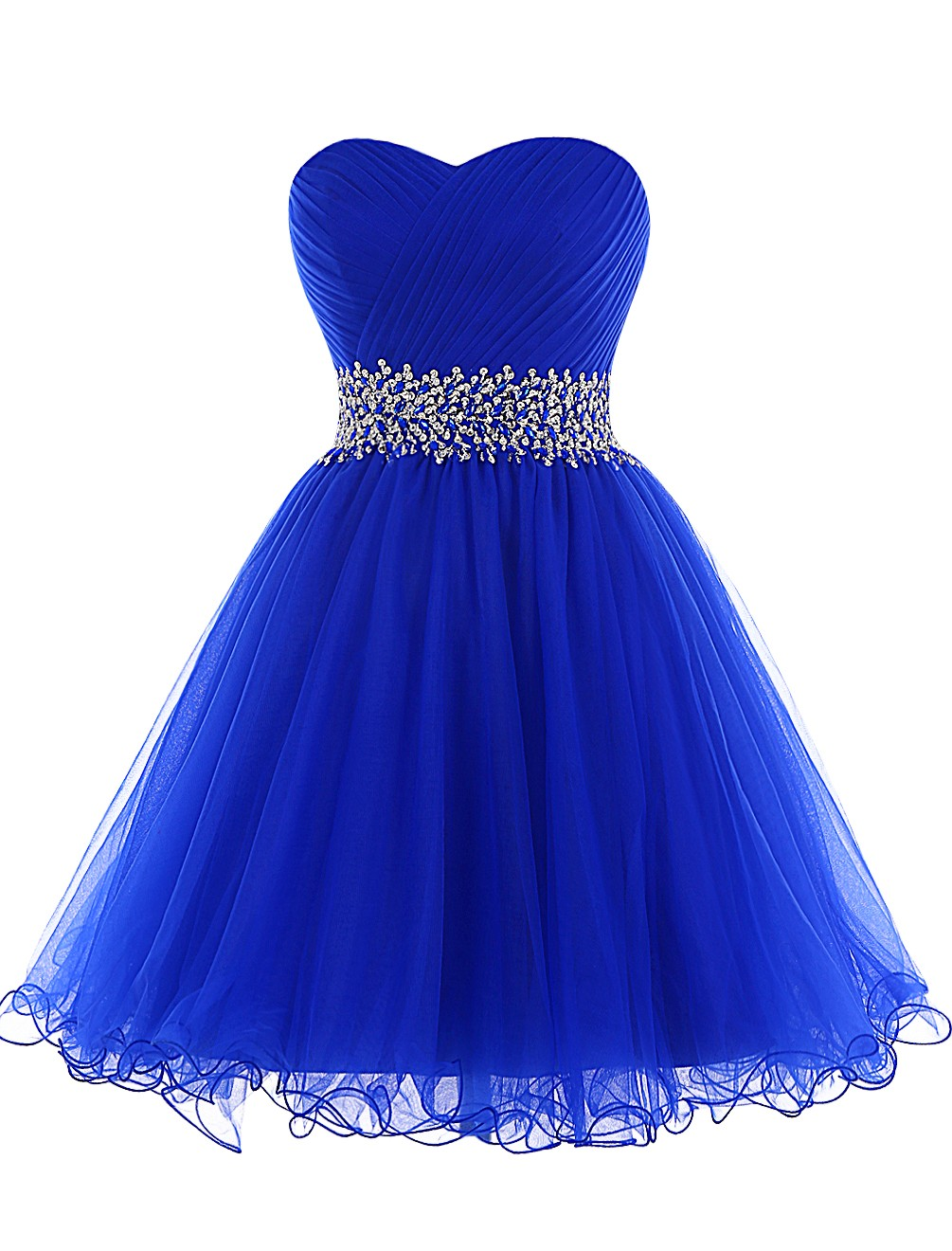A-line Sweetheart Short Tulle Lace-up Beaded Royal Blue Cocktail Homecoming  Dress
