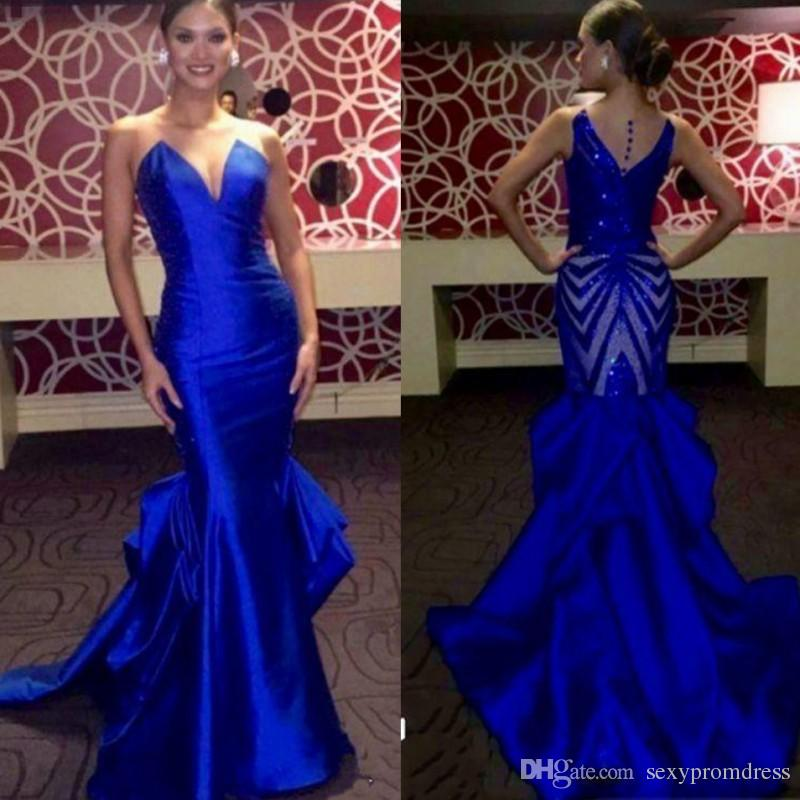 Elegant Royal Blue Evening Gowns Sheer Neck Sleeveless Satin Mermaid Prom  Dresses Back Sequined 2017 Miss USA Pageant Party Dress Black Gowns  Designer ...