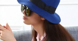 Blue fedora hat for women wool blend bow felt hats winter wear