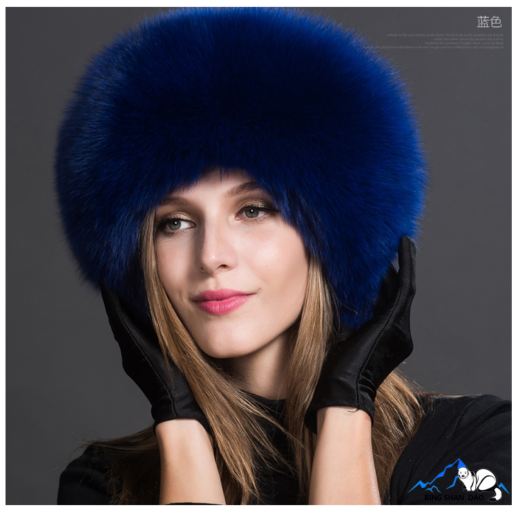 Blue hat fur Fox Fur hats women's winter hat fur winter leather Korean  version flows Northeast outdoor thickened ear fur hats-in Fedoras from  Women's ...