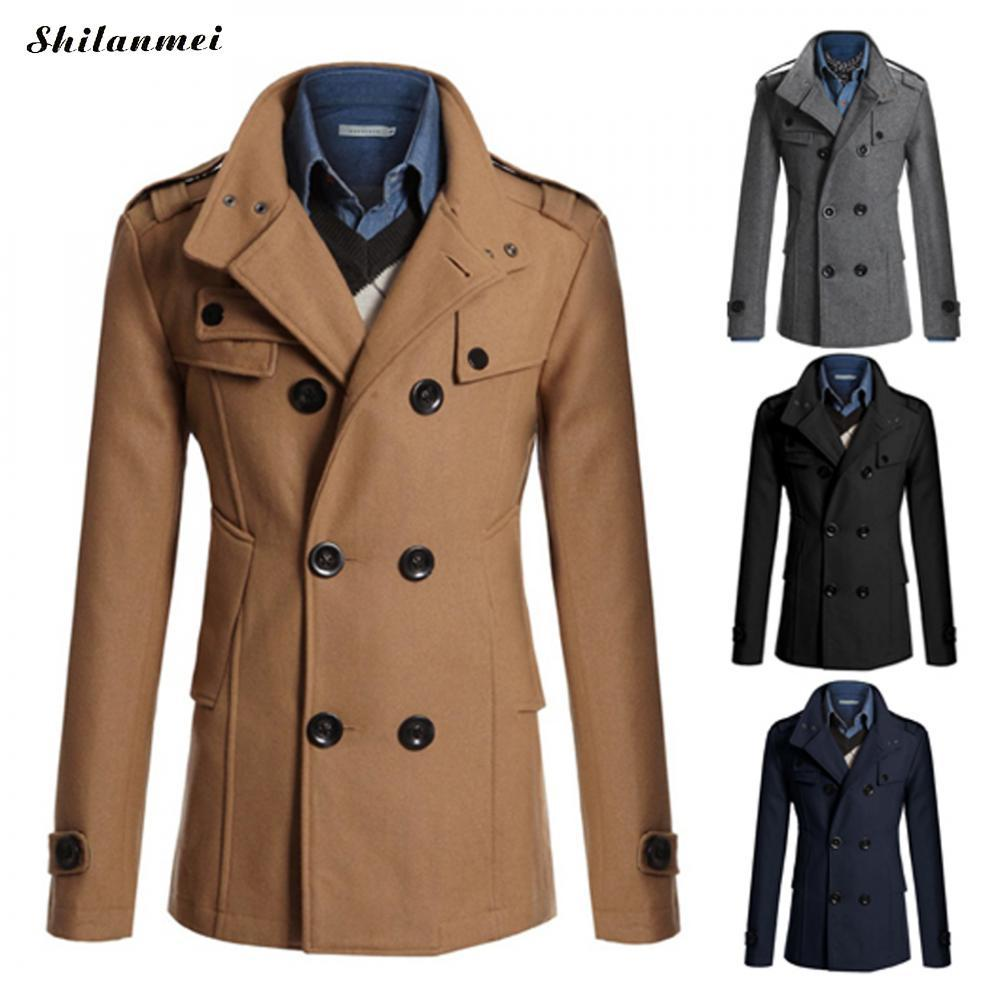 2019 Winter Men'S Coats Camel Mid Long Coat Thermal Black Men Outwear Navy  Blue Turn Down Collar Double Breasted Casual Overcoat From Ladylbdcloth, ...