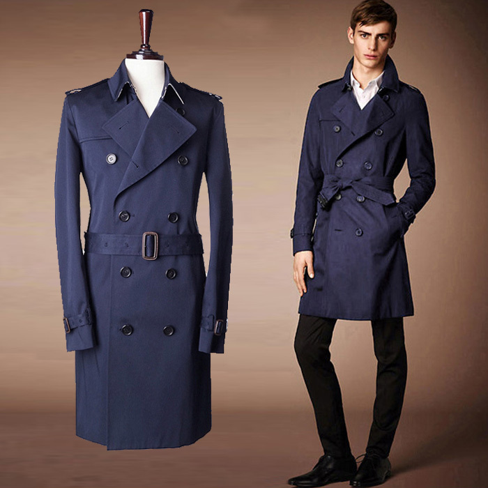 Fashion Brand Trench Coat Men 2015 Europe America Style Double Breasted Mens  Coats And Jackets Colour Beige Navy Blue Size M XXL-in Trench from Men's ...