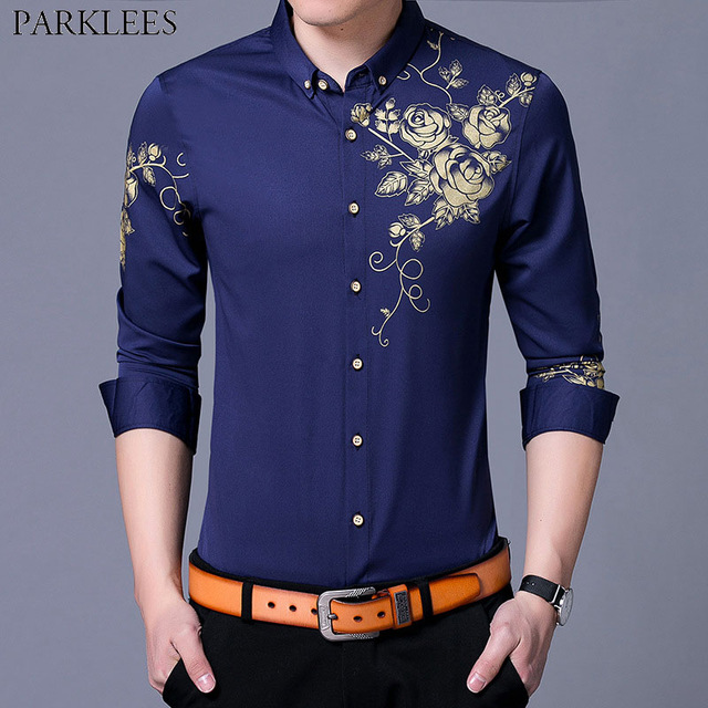 Trend Royal Blue Shirt Men 2018 Stylish Golden Flower Print Mens Slim Fit  Long Sleeve Button
