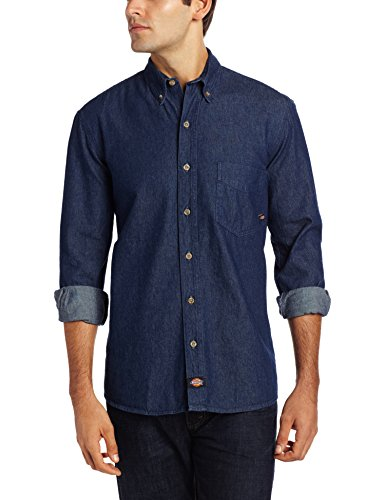 Dickies Menu0027s Long-Sleeve Denim Work Shirt at Amazon Menu0027s Clothing store:  Button Down Shirts
