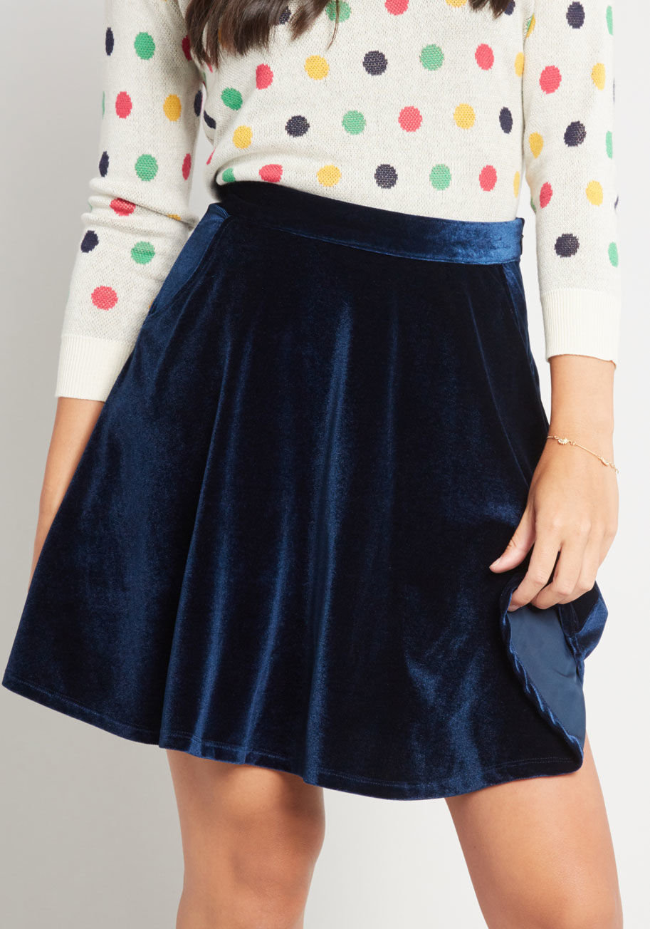 ModCloth Velvet Skater Skirt with Pockets Blue