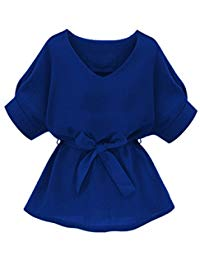 Women's V Neckline Self Tie Short Sleeve Blouse Tops