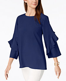 Alfani Ruffled-Sleeve Zip-Back Top, Created for Macy's