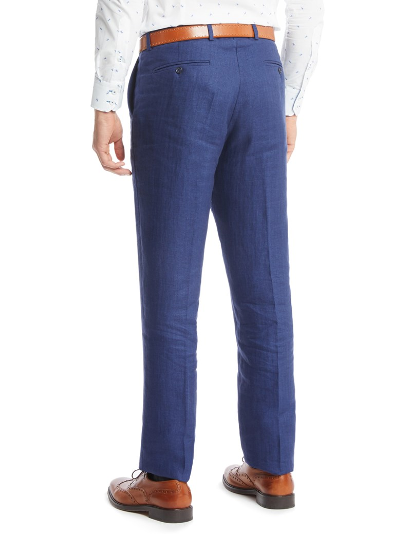Men's Blue Herringbone Tailored Fit Linen Trouser