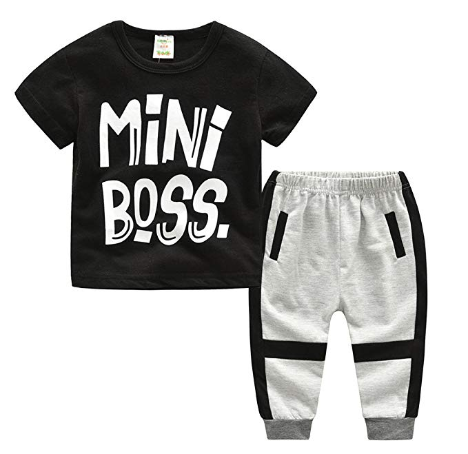 Kids Baby Little Boys Short Sleeve Mini Boss Tshirt Pants Outfits Clothes  Set