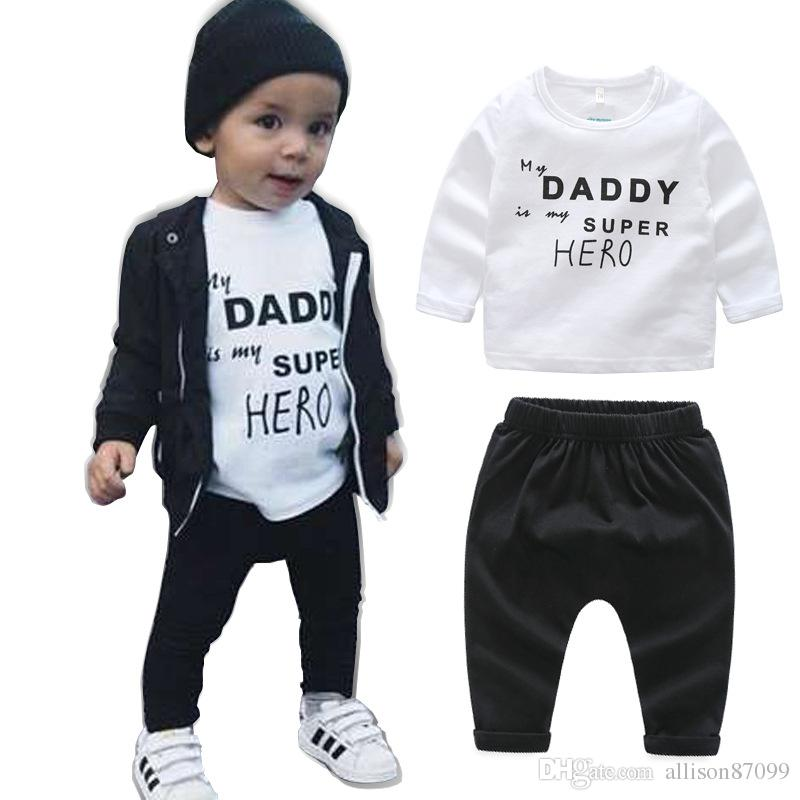 Ins Like a boss Baby Boy clothing Outfits cotton Cool 2018 Spring Long  sleeve T-