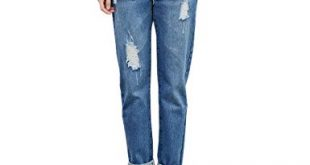 RieKet Boyfriend Distressed Jeans Women Slim Pants Juniors (00 (Asia S),  Blue