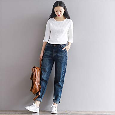 Patrickcain New Boyfriend Jeans Harem Pants Women Trousers Casual Plus Size  Loose Fit Vintage Denim Pants