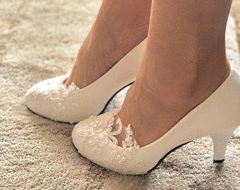 Bridal wedding shoes- handmade wedding shoes- pumps-white or ivory wedding  shoe.
