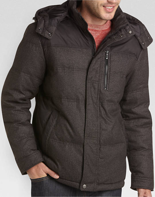 T-Tech by Tumi Brown Herringbone Classic Fit Down Jacket - Mens Casual  Jackets,