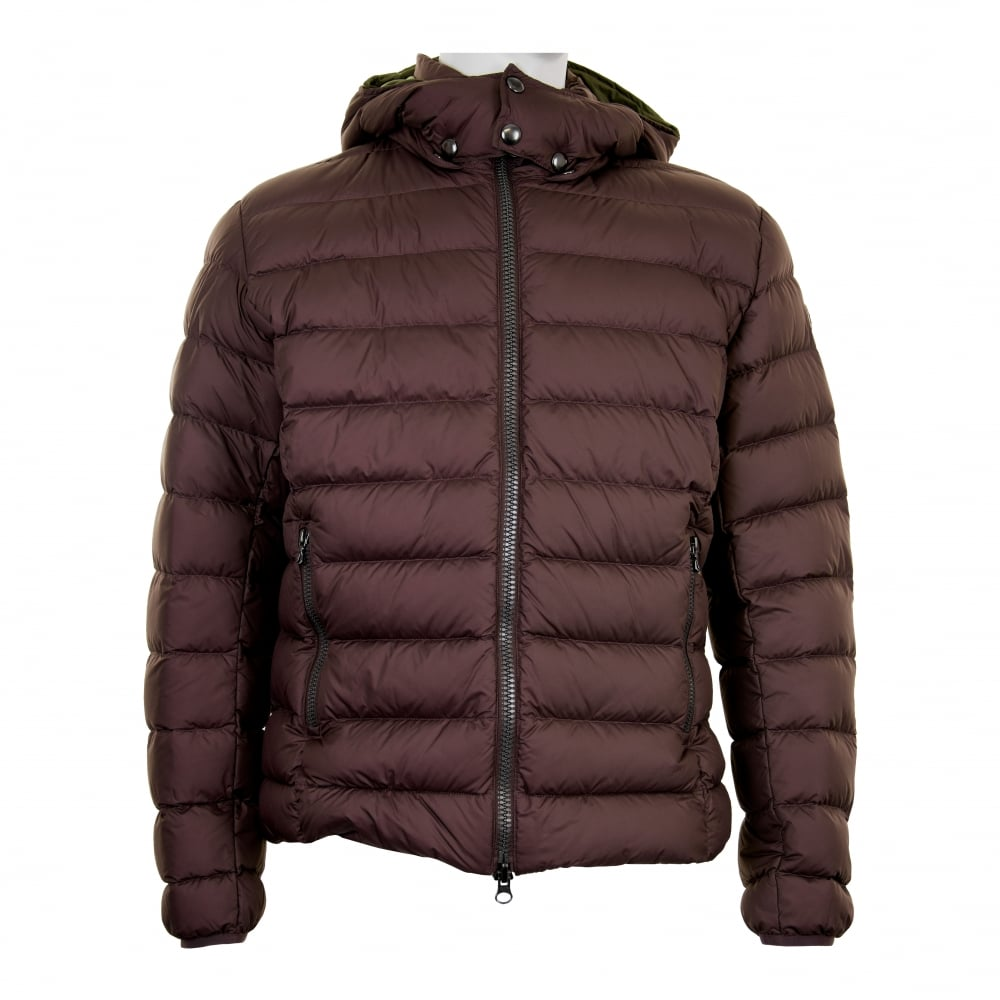 Colmar Mens Removable Hood Quilted Down Jacket (Brown)