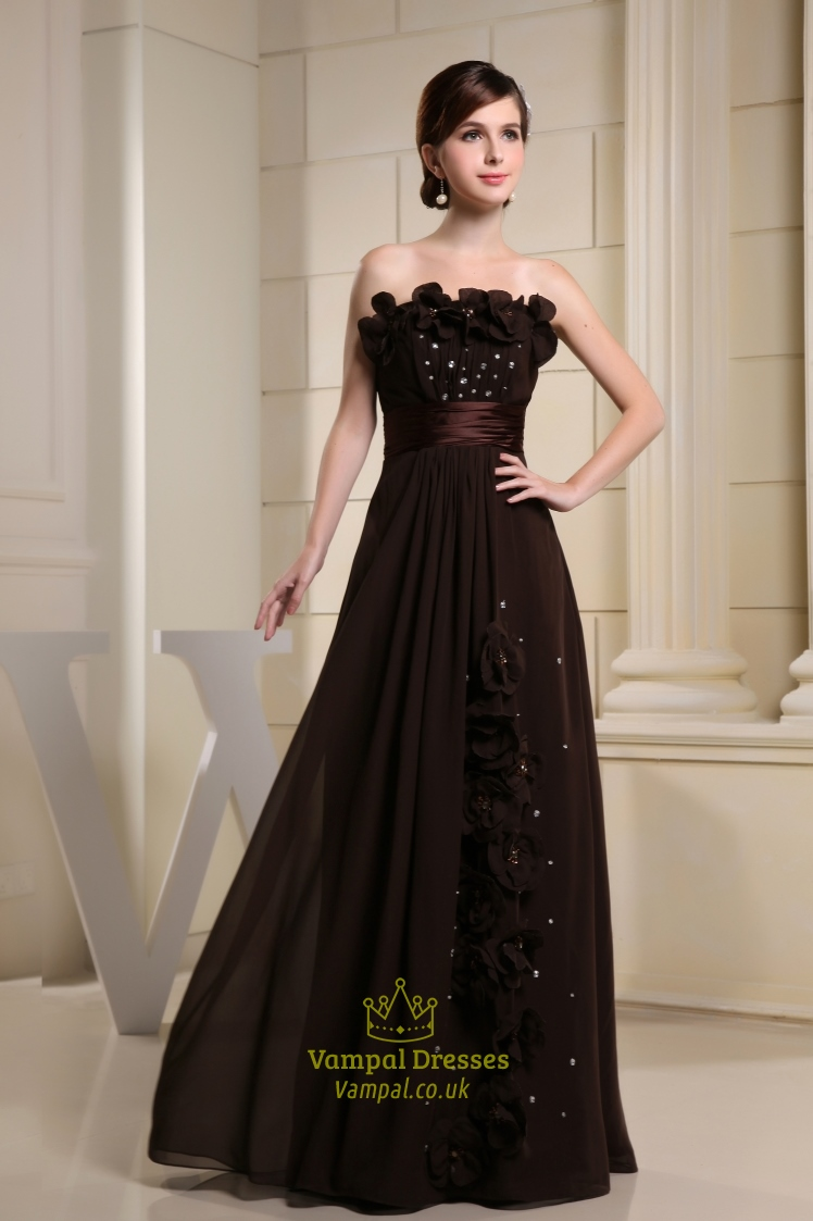 Long Brown Evening Dresses, Chocolate Brown Chiffon Bridesmaid Dresses