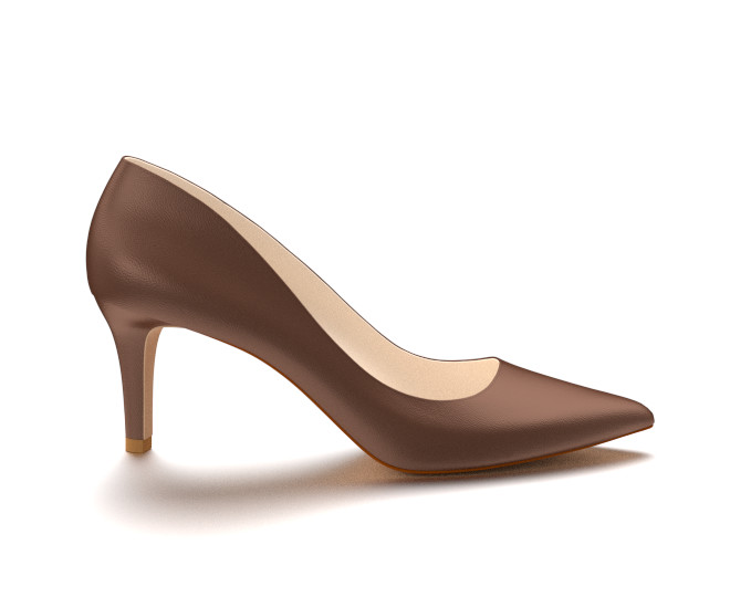 Pointed Toe Three Inch Heels, Brown Soft Leather