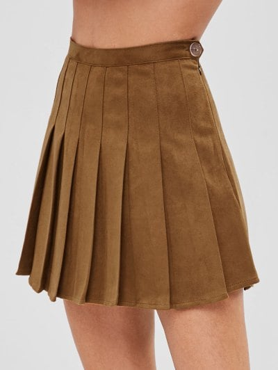 Pleated Mini Skirt With Inner Shorts - Brown Xs