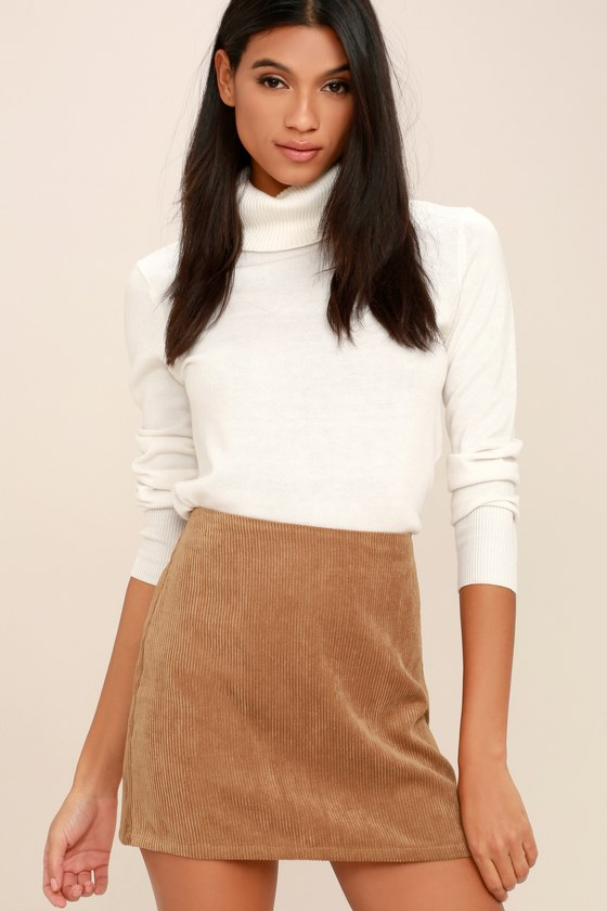 Head of the Class Brown Corduroy Mini Skirt